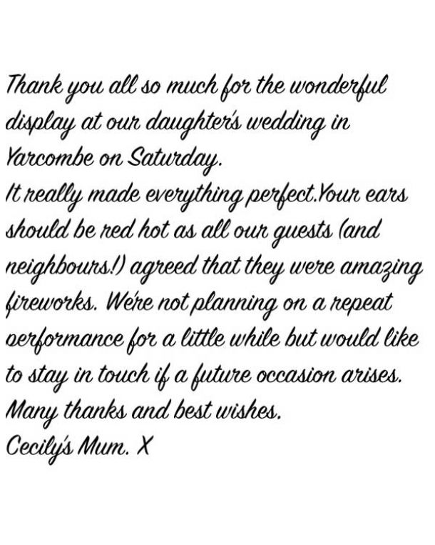 Thank-you letter for fireworks display