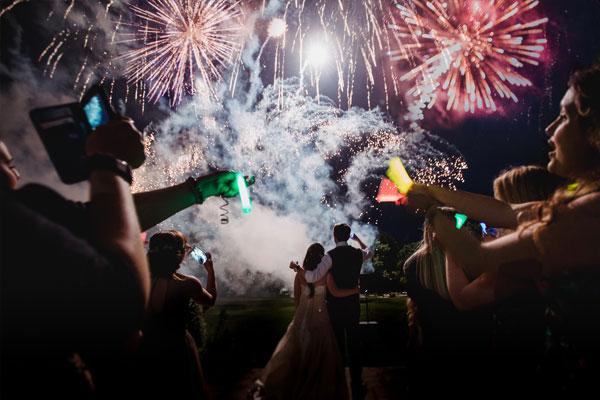 Wedding Couple watch fireworks at Deer Park, Devon